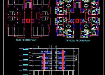 2 Bedroom Apartment Building Design- Autocad Architecture dwg file download