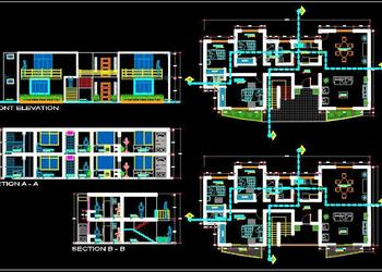 2 Storey House Floor Plan (18X9 MT.) Autocad Architecture dwg file download