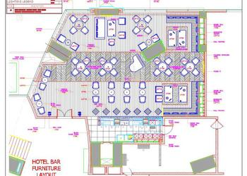 Bar and Restaurant Interior Floor Plan DWG Drawing Download