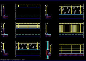 Cad Blocks Free Download of Staircase and Balcony Railing Design
