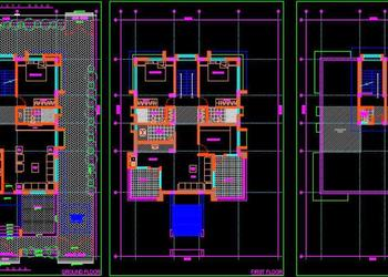 Duplex House Floor Plan (45'x70') Autocad Drawing