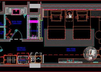 Five Star Hotel Guest Room Floor Plan Interior and Furniture DWG Detail