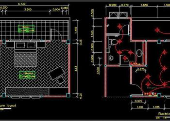 Hotel Guest Room Interior and Electrical Floor Plan DWG Drawing File