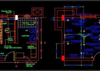 Hotel Guest Room Interior and Electrical Layout Plan Cad Drawing free download