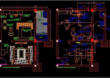 Hotel Suite Room Interior and Electrical Floor Plan DWG Drawing File