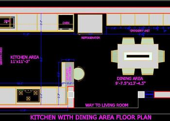 Kitchen and Dining Floor Layout Plan dwg Drawing File