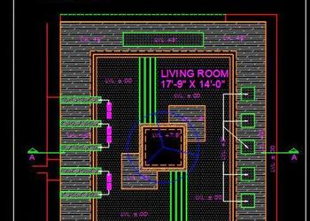 Living Room Modern False Ceiling Design Autocad Plan and Section