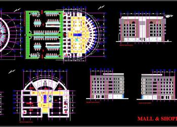 Shopping Mall Plan Elevation Section Drawing-  Autocad Architecture dwg file download