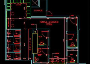 Swimming Pool Changing Room DWG Layout Plan