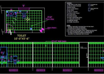 "Toilet Detail (10'x5'-6"") Autocad 2d drawing free download"