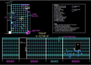 "Toilet Detail (5'-6""x9') Autocad 2d drawing free download"