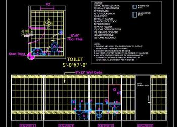 Toilet Detail (5'x7') Autocad 2d drawing free download