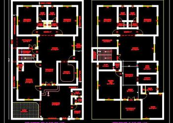 2 Storey House Floor Plan (45'x75') Autocad house plans drawings download