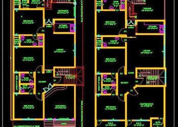 Duplex House (30'x60') Autocad house plan drawing free download