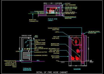 Fire Hose Cabinet DWG Drawing Detail
