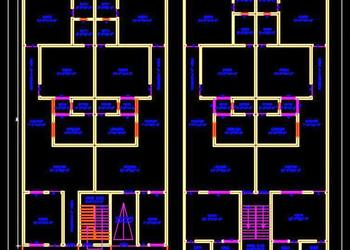 Multi-family Residential Building (40'x70') Autocad Architecture dwg file download (Option-1)