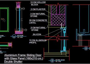 Aluminium Sliding Door Detail dwg Autocad Drawing Download