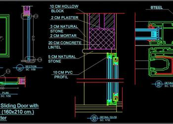 UPVC Sliding Door Detail dwg Autocad Drawing Download