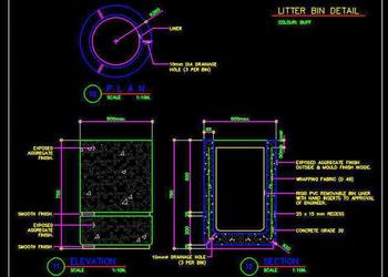 Outdoor Trash Bin Cad Block DWG Download