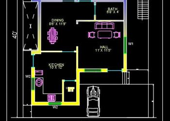 House Space Planning 30'x40' Floor Plan DWG Free Download