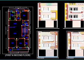 House Space Planning 30'x60' Floor Plan AND Front Elevations DWG Free Download