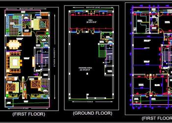 Independent House G+1 Floor Layout Plan DWG Drawing Download