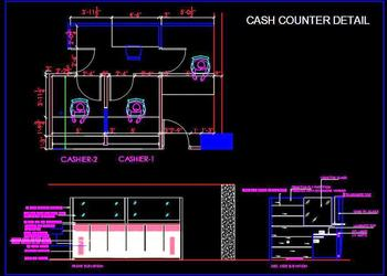 Bank Cashier Room and Cash Counter DWG Interior Cad Detail
