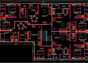 Multi-family Residential Building- 2 BHK Apartment- Autocad Architecture dwg file download