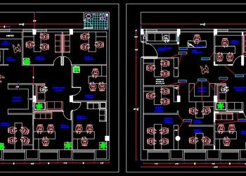 Office Design Plan DWG Drawing (40'x35')