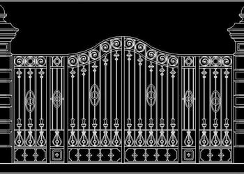 Cad Block of Beautiful Main Entrance Gate- DWG Drawing File