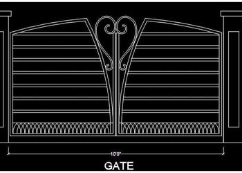 Entrance Gate Elevation Cad Block- Free DWG File Download