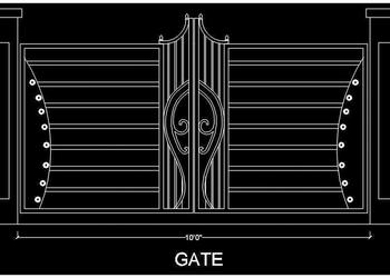 Entrance Gate Elevation Design Cad Block- DWG File Download