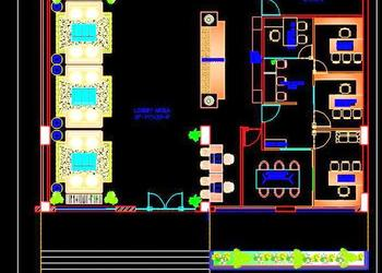 Hotel Lobby Layout Plan - Free DWG Drawing Download