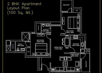 2 BHK Apartment Plan DWG File
