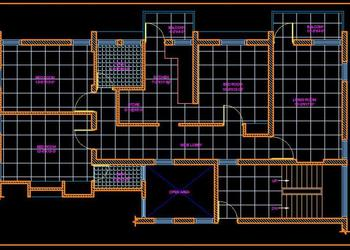 3 BHK Flat- Apartment Cad Layout Plan Free Download