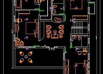 Autocad House Plan Free DWG Drawing Download 40'x45'