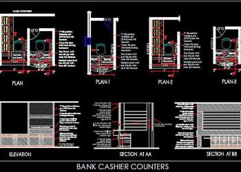 Bank Cash Counter DWG Drawing Detail