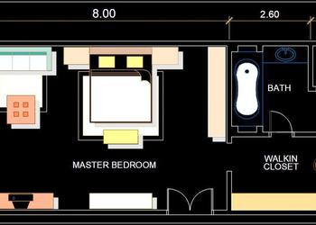Luxurious Master Bedroom Interior Layout Presentation Plan DWG File