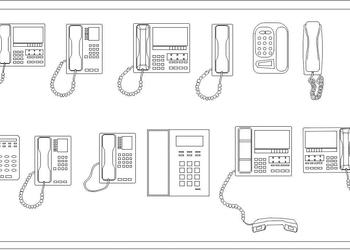 Office Phone Free Cad Block Download