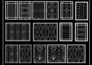 15 Modern Window Grill Design Cad Block DWG File Download