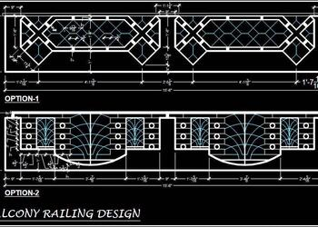 Balcony Railing Cad Block- Plan and Elevation