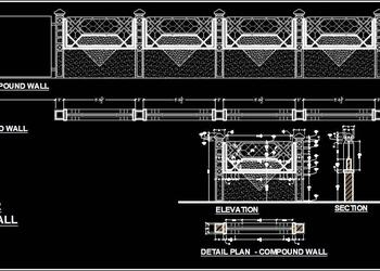 Boundary or Compound Wall Design DWG Drawing File