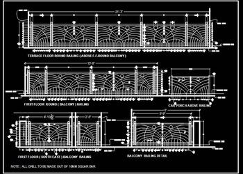 Modern Railing Cad Drawing DWG Design download