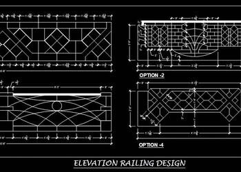 Modern Railing Design Cad Block in Elevation