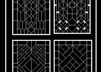 Window Grill or jali 2d Cad Designs in Elevation
