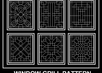 Window Grill or Jali Cad Designs in Elevation