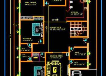 Autocad House Plan DWG Drawing Download 50'x75'