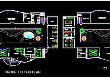 Clubhouse Architectural Layout Plan DWG File
