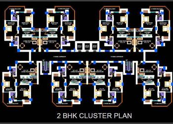 Group Housing Tower Design with 2 BHK Apartments Architectural Cad Layout Plan