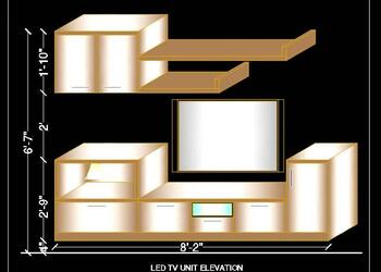LED TV Unit 3d Elevation Design Cad Block Drawing